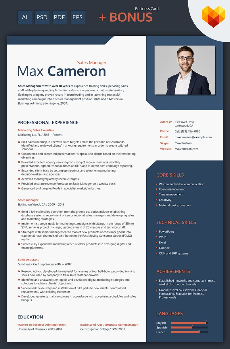 Max Cameron Sales Manager Resume Template (With images