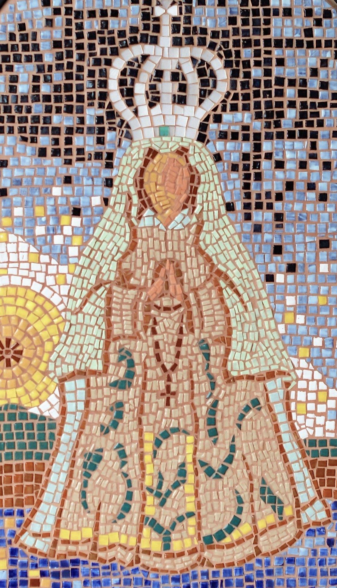 Virgen Del Valle Mural En Mosaico Teselas De Gres Esmaltado 110  # Muebles Nikea Campello