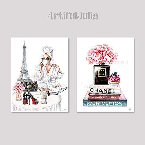 Amazon Com Eiffel Tower Art Print Poster Wall Decor Fashion Poster Illustration Art Print Chanel Poster Ar Kids Art Prints Eiffel Tower Art Moon Nursery Art
