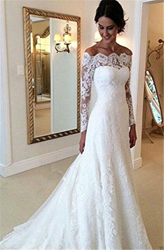 nuevo encaje elegante vestidos de novia blanco marfil en el hombro