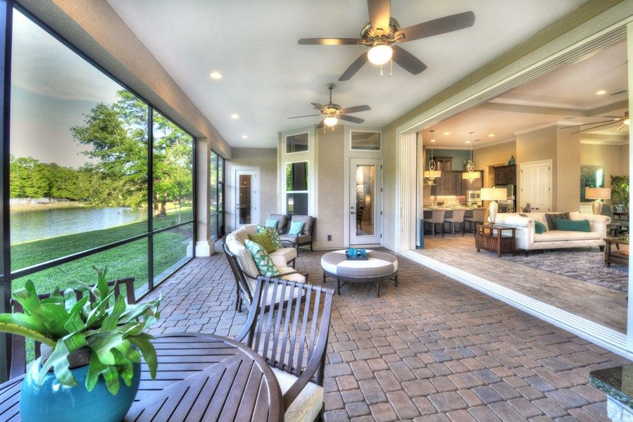 A covered lanai opens wide to this great room. The Egret V ... on