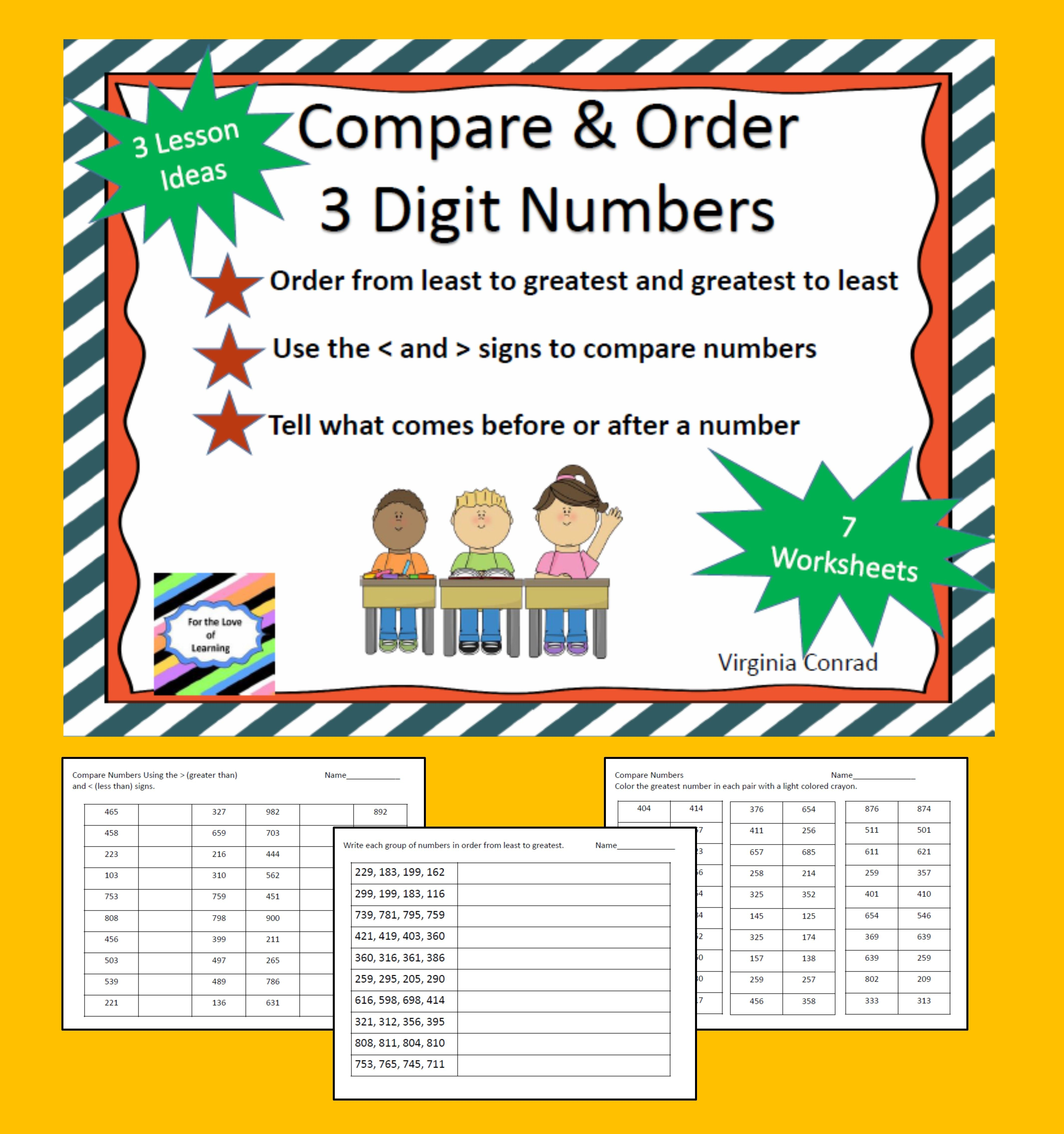 Activities And Worksheets For Comparing And Ordering 3 Digit Numbers Teaching Third Grade Math Third Grade Math Teaching Third Grade Comparing digit numbers worksheets