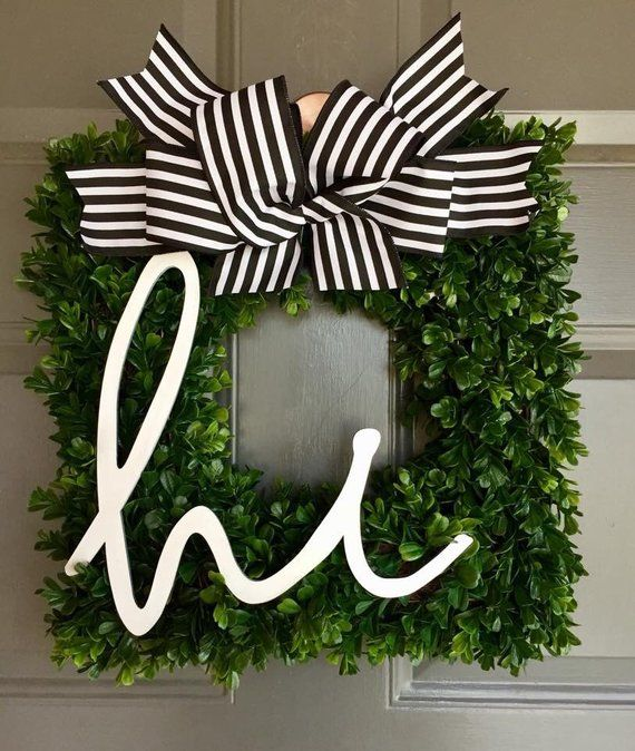 Photo of Square boxwood wreath with hello, monogram sign, boxwood, farmhouse, farmhouse wreath, monogram wreath, rustic, summer wreath, front door