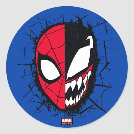 Spider-Man | Dual Spider-Man & Venom Face Classic Round Sticker - tap/click to personalize and buy #ClassicRoundSticker  #spiderman #marvel #comics #spider #man
