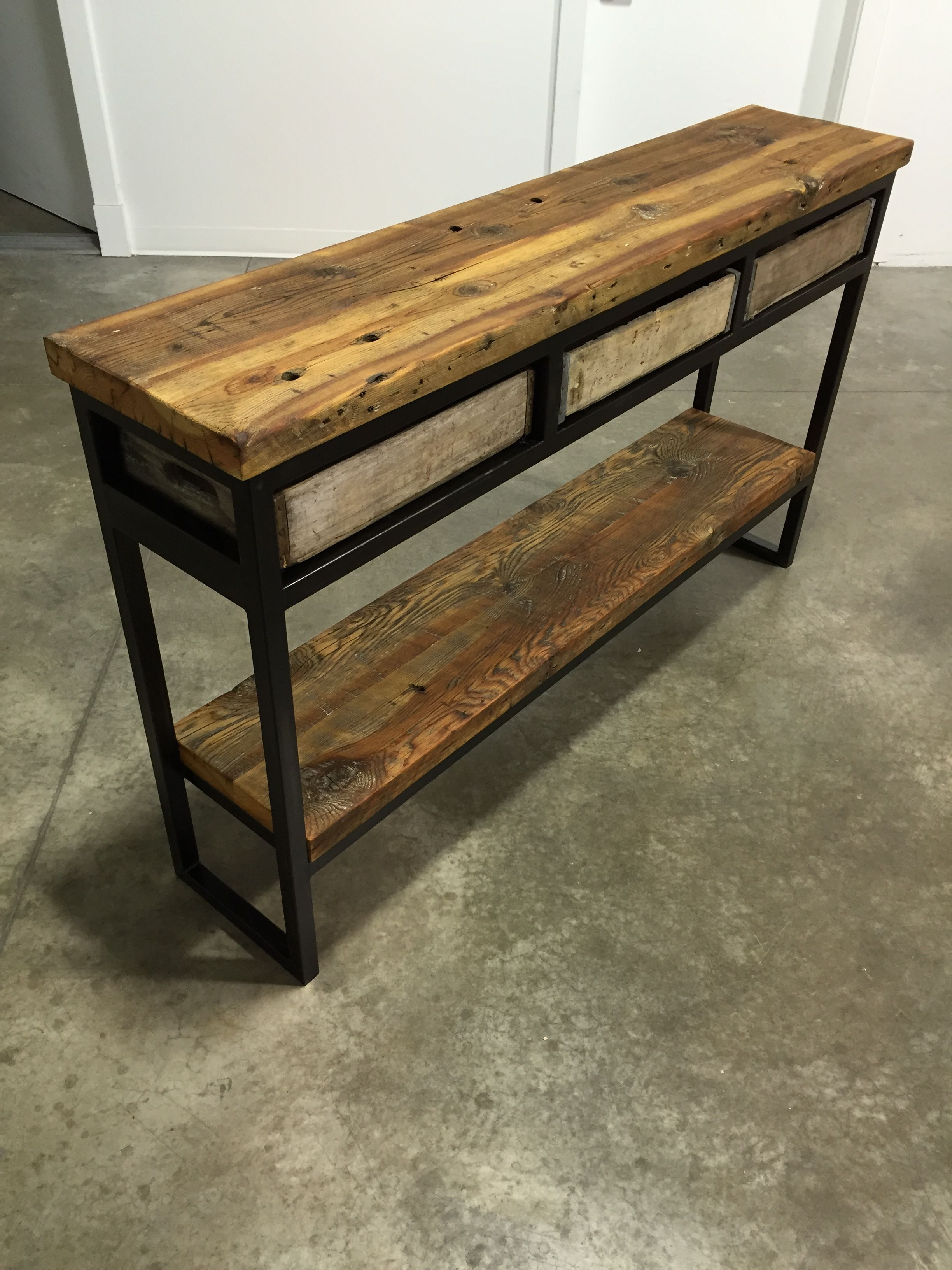 Vintage Crate Buffet Sofa Table Reclaimed Montana Barn