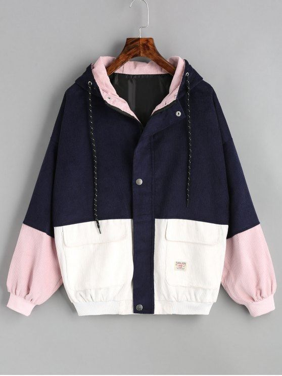 Hooded Color Block Corduroy Jacket PURPLISH BLUE M