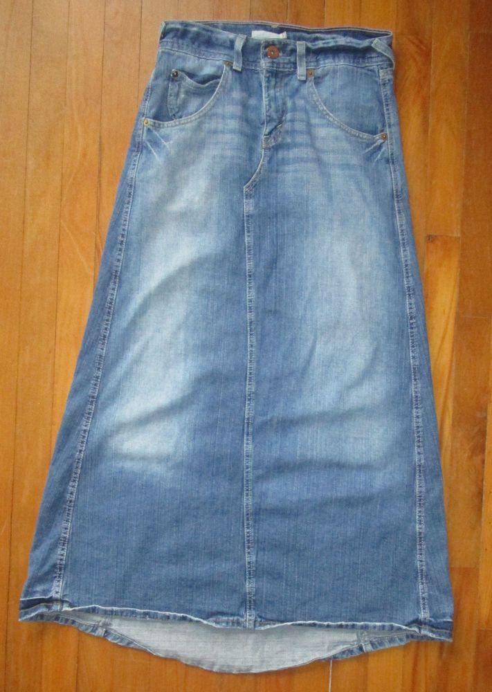 Levis Long Maxi Blue Jean Skirt Juniors 3 Modest No Slit Split ...