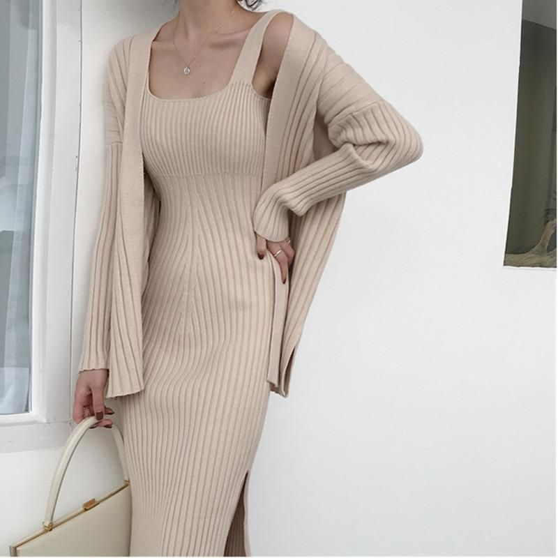 2019 New High quality winter Womens Casual Long Sleeved Cardigan + Suspenders Sweater Vest Dress Two Piece Runway Dress Suit