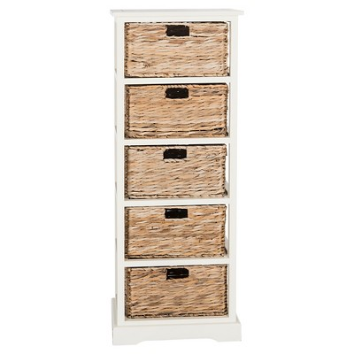 Vedette Storage Chest With Wicker Baskets Distressed White
