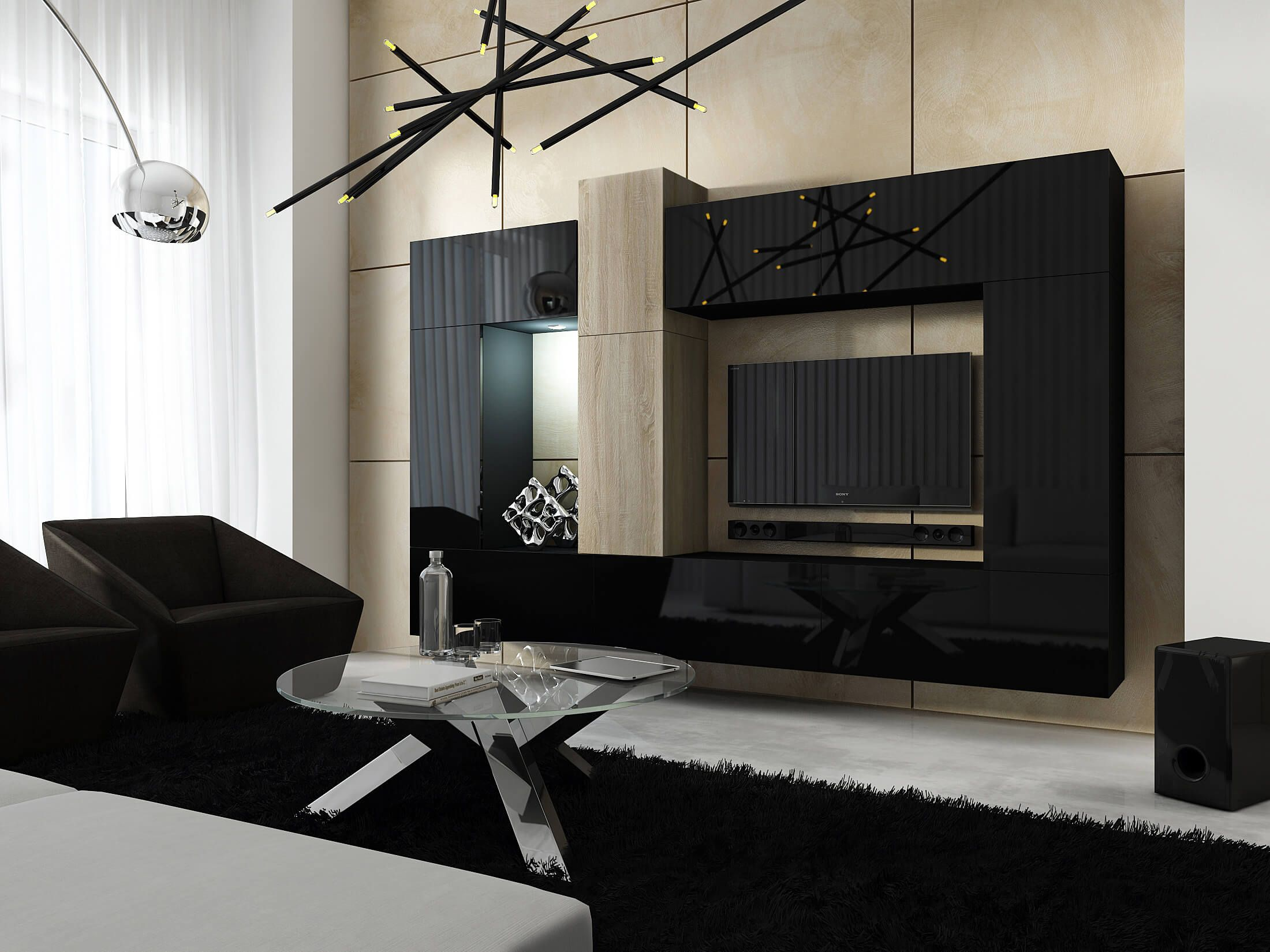 Mueble De Sal N Size Negro Y Sonoma Prime Home Espa A Muebles  ~ Muebles De Salon Blanco Y Negro