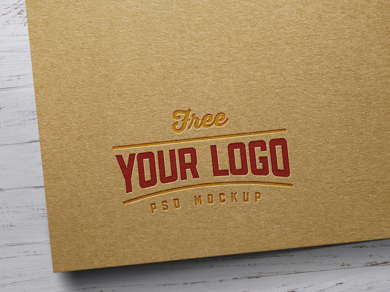 Download Free Kraft Paper Letterpress Logo Mockup Psd Free Logo Mockup Free Logo Mockup Psd Logo Mockup