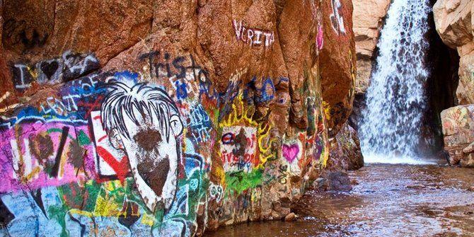 graffiti waterfall Riverside from Indiana Ave near the ...