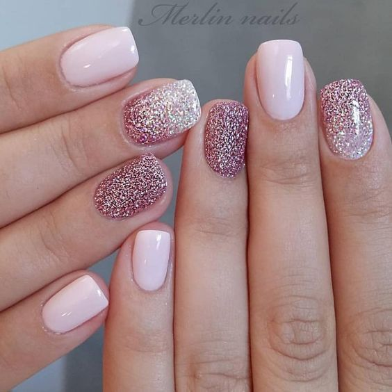 Photo of Glitter gel nail designs for short nails for spring 2019