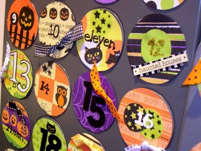 Halloween Countdown Calendar. Take old magnets, glue on scrapbook paper, embellish and use with muffin tin to countdown the days until Halloween.