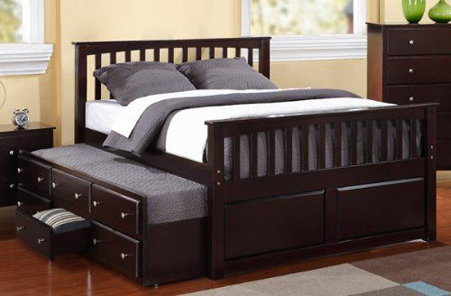 Full Captain Bed W Twin Trundle And 3 Drawers Storage
