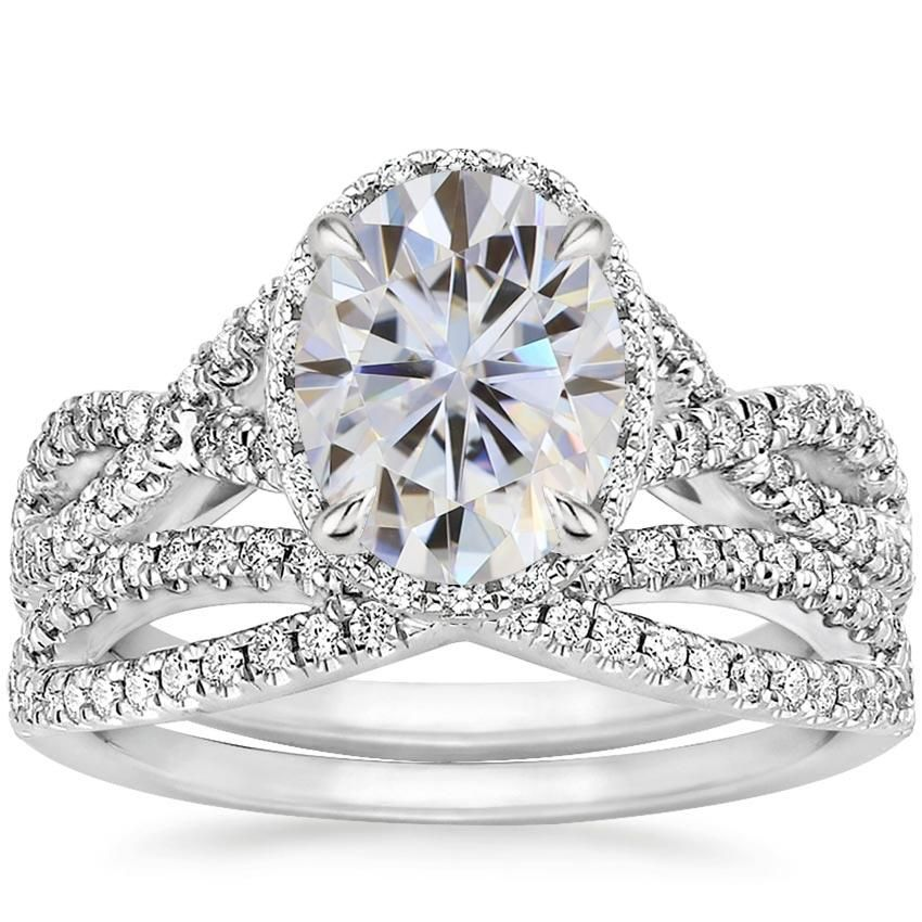 18k white gold moissanite entwined halo diamond bridal set