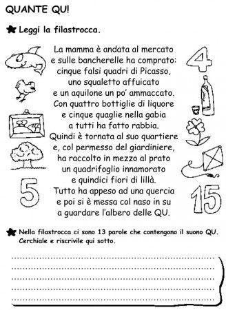 Scheda quante qu classe prima grammatica italiana for Parole capricciose esercizi