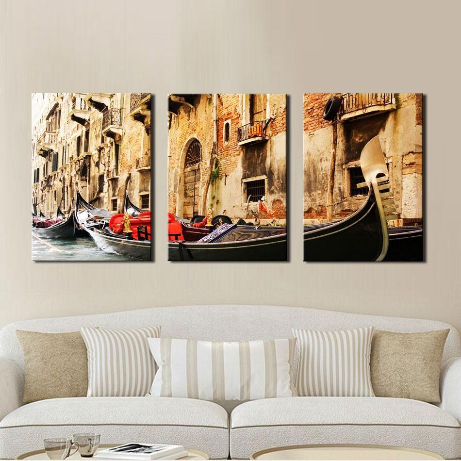 3 Panel Wall Art Pintura Sobre Lienzo Al óleo Famosa Colección Para Sala De Estar Venice Scenery Picture Print Decoraciones El Hogar
