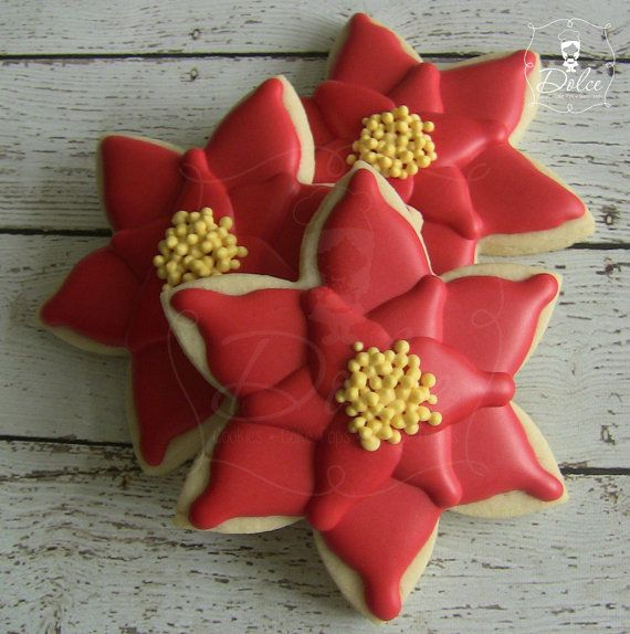 Poinsettia Decorated Christmas Cookies