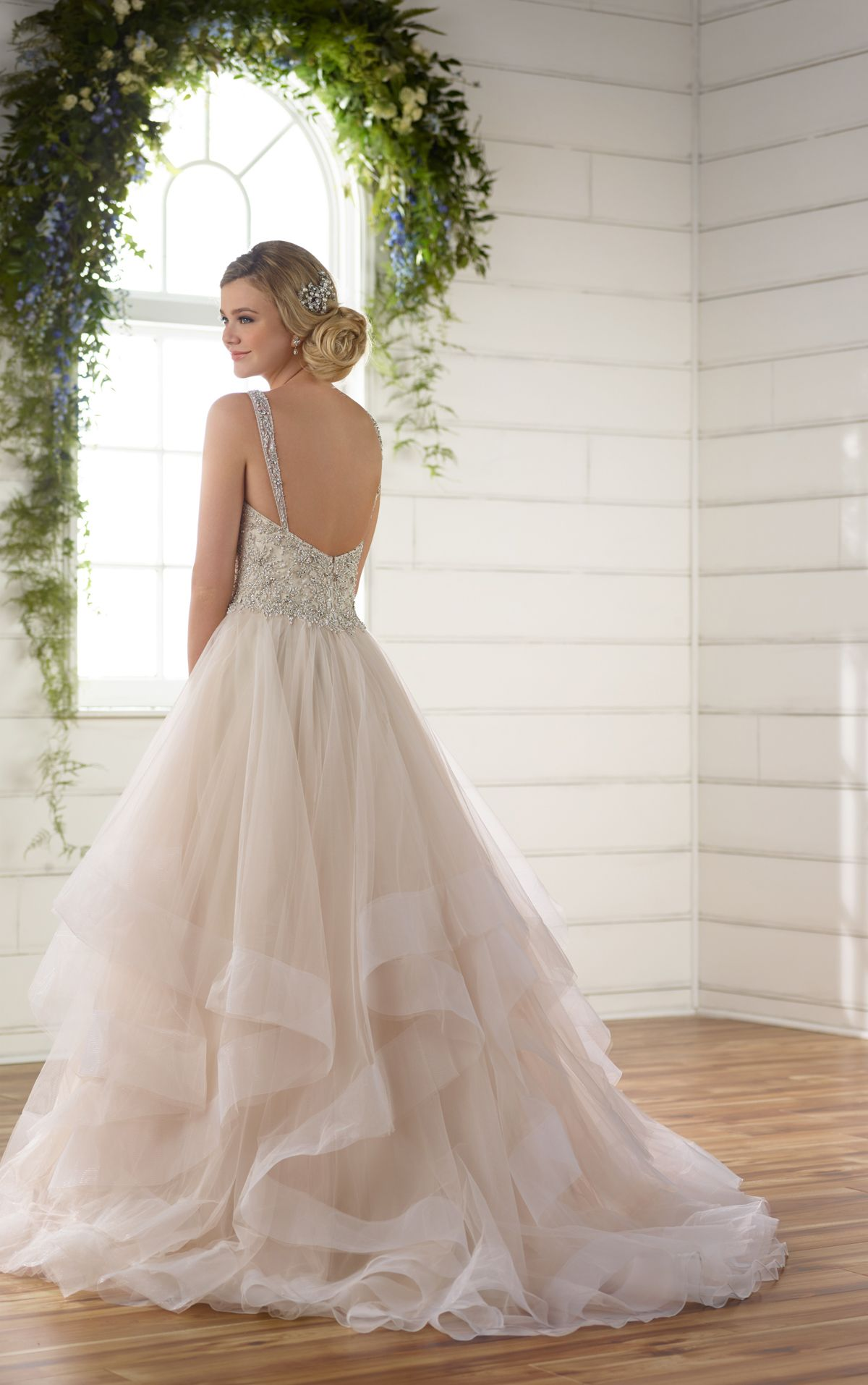 Plus Size Beaded Strap Wedding Dress With Full Textured Skirt In
