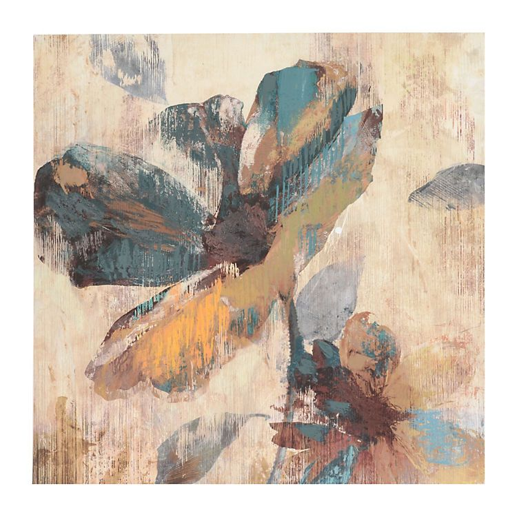 Abstract Aqua & Brown Floral Canvas Art Print | Cuadro y Pinturas
