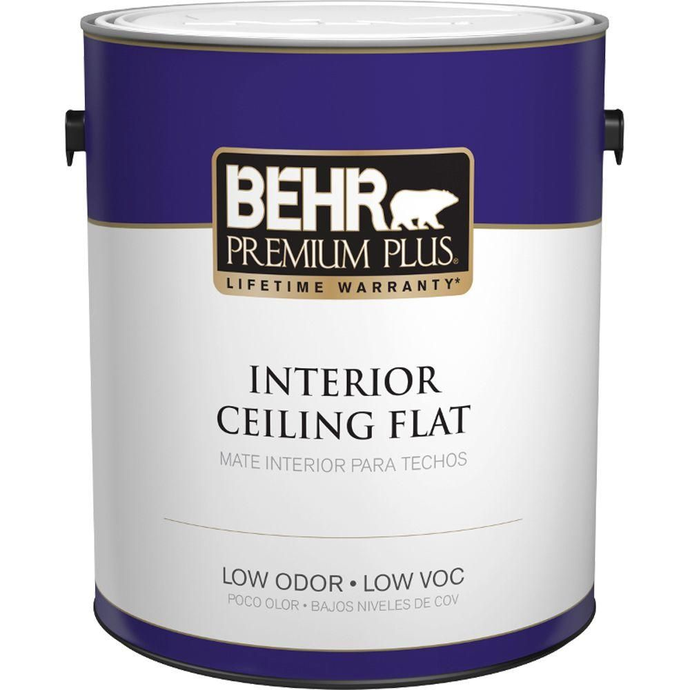 Used For All Ceilings Behr Premium Plus 1 Gal Flat Interior Ceiling Paint 55801 The Home Depot