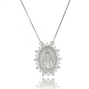 SOLOYOU   Colar Nossa Senhora das Graças Prata com Zircônia Cristal Semijoia  em Ródio Branco 7bce9b77c9