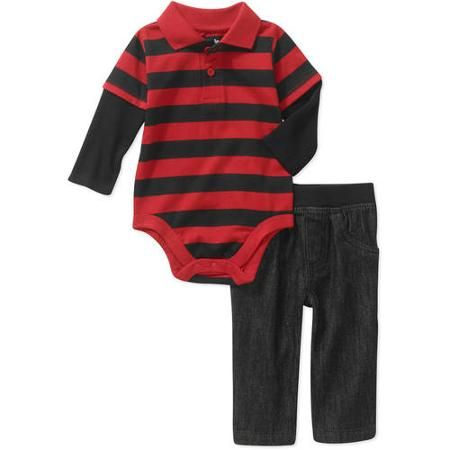 e2e5a5438 Garanimals Newborn Baby Boy Striped Polo Bodysuit & Denim Pants Outfit Set  - Walmart.com