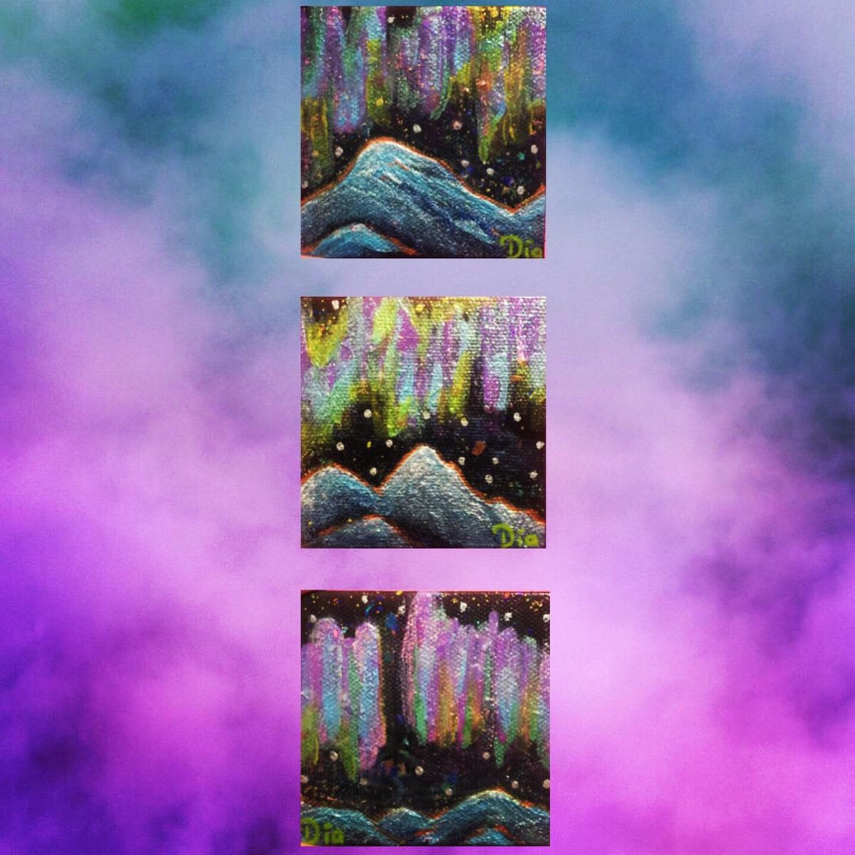 #mountain #blue #northernlights #minipainting #painting #forsale #artforsale