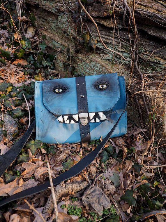 Baby Blues Monster Bag by WaywardLeatherDesign on Etsy