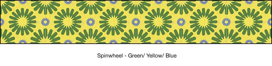 MoRockAnSoul | Casart Coverings. Spinwheel in Green/Yellow/Blue