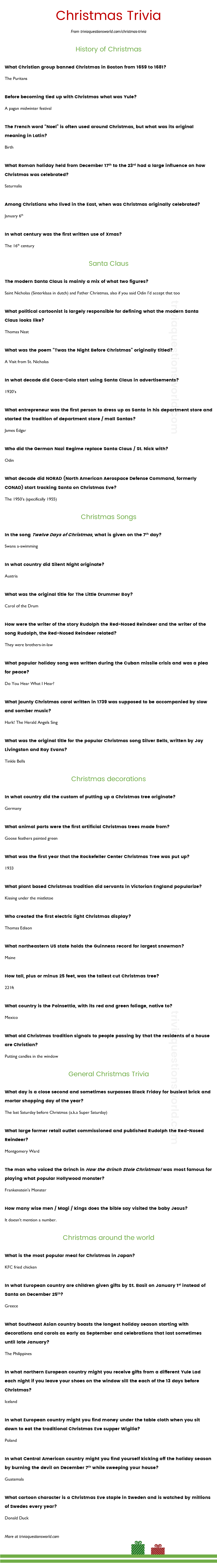 A List Of Great Christmas Trivia Trivia Questions Christmas