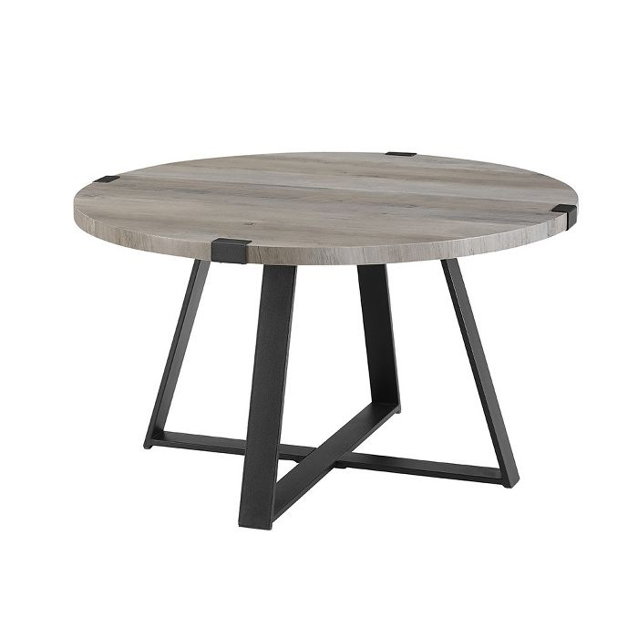 30 Round Urban Industrial Wood And Steel Coffee Table Saracina