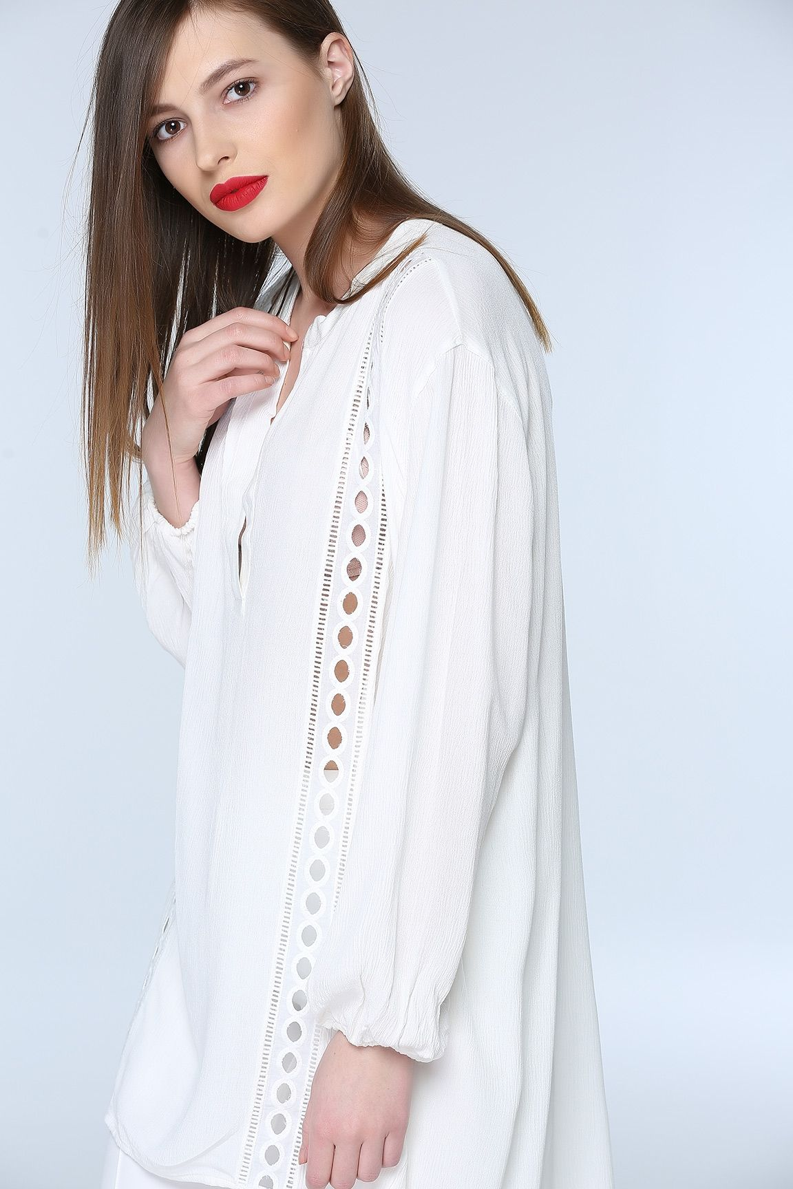 Ekru On Detayli Bluz Bluz Kiyafet Giyim