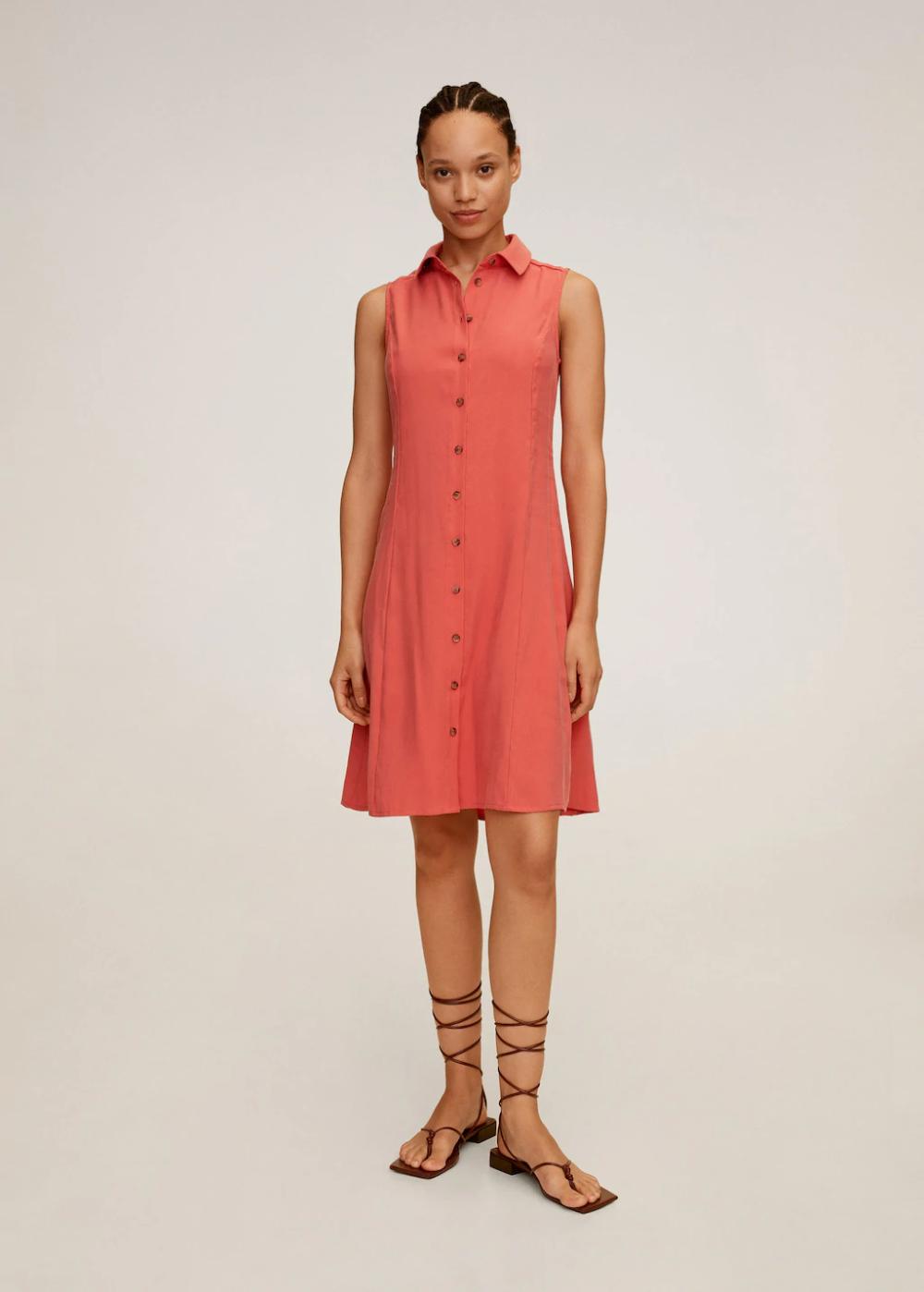 Dugmeli Gomlek Elbise Kadin Mango Turkiye 2020 Gomlek Elbise Elbise The Dress