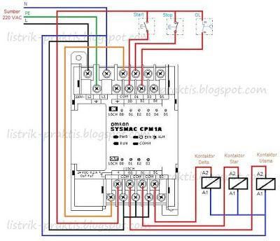 Wiring PLC pengasutan motor stardelta | panel