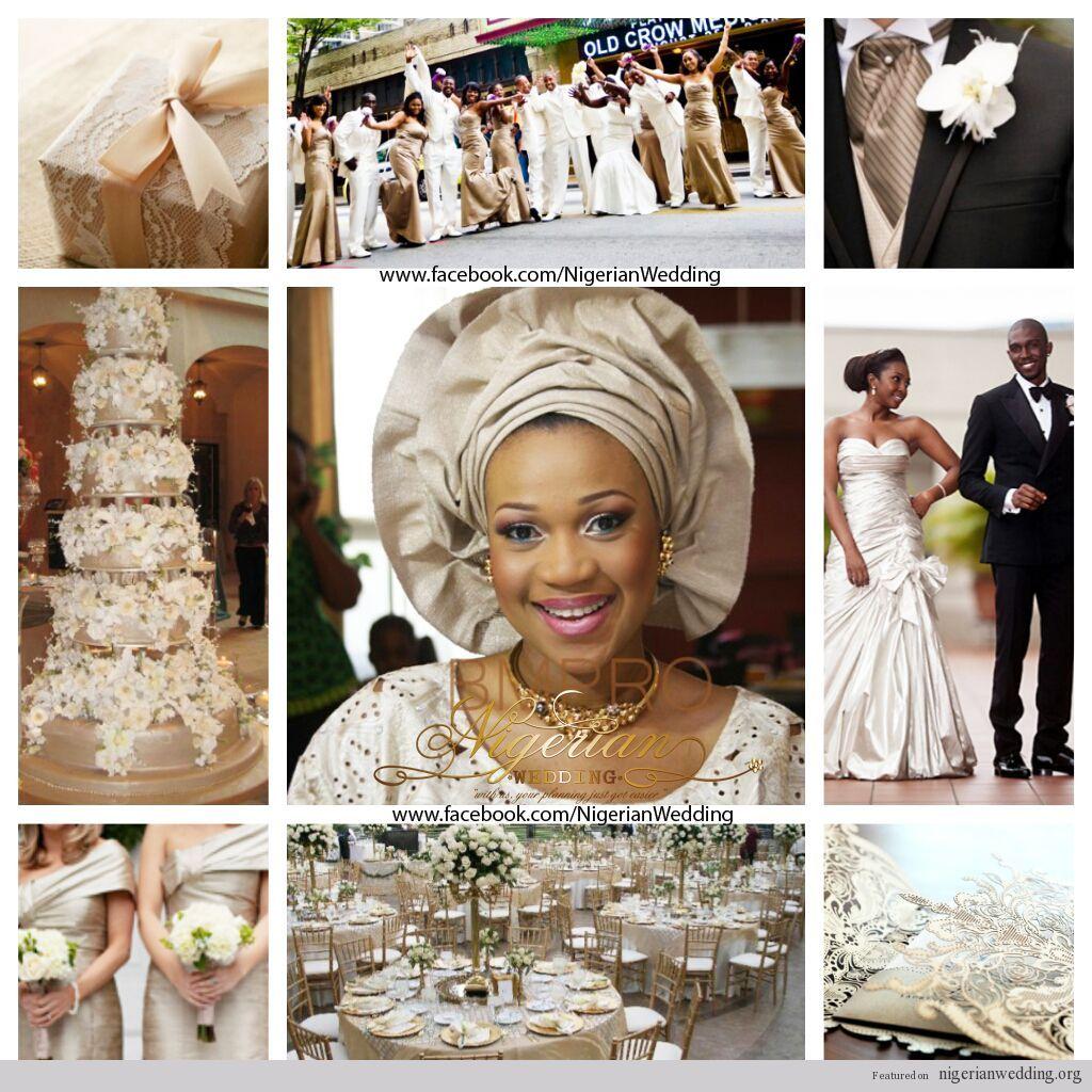 Nigerian Wedding Champagne And Cream Color Scheme Inspiration Board