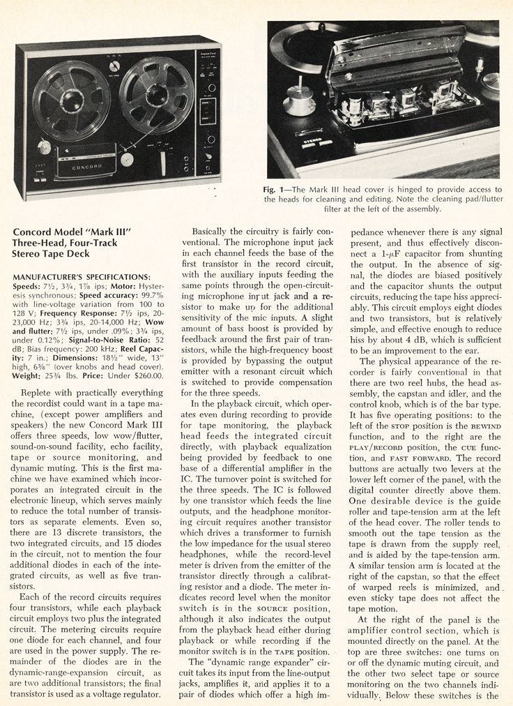 1969 Review Of The Concord Mark Iii Reel To Reel Tape Recorder In