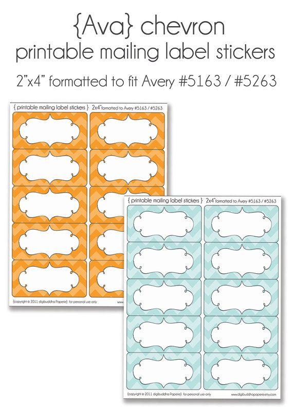 ava modern chevron printable address mailing avery label stickers