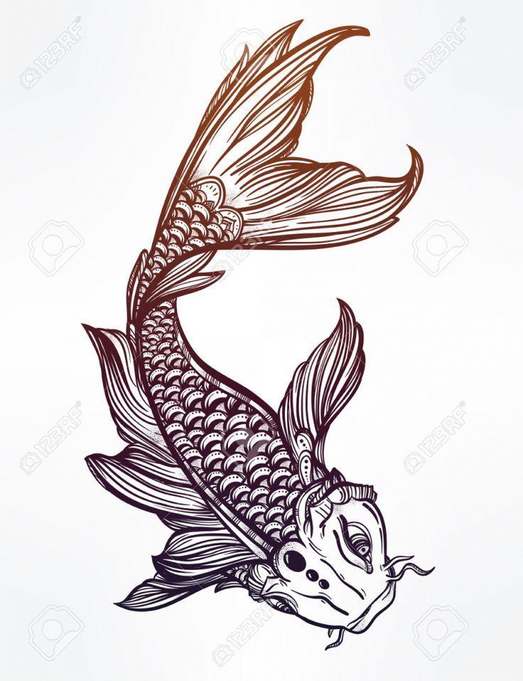 Koi fish drawing on Pinterest | Koi fish tattoo Koi painting and Koi ...