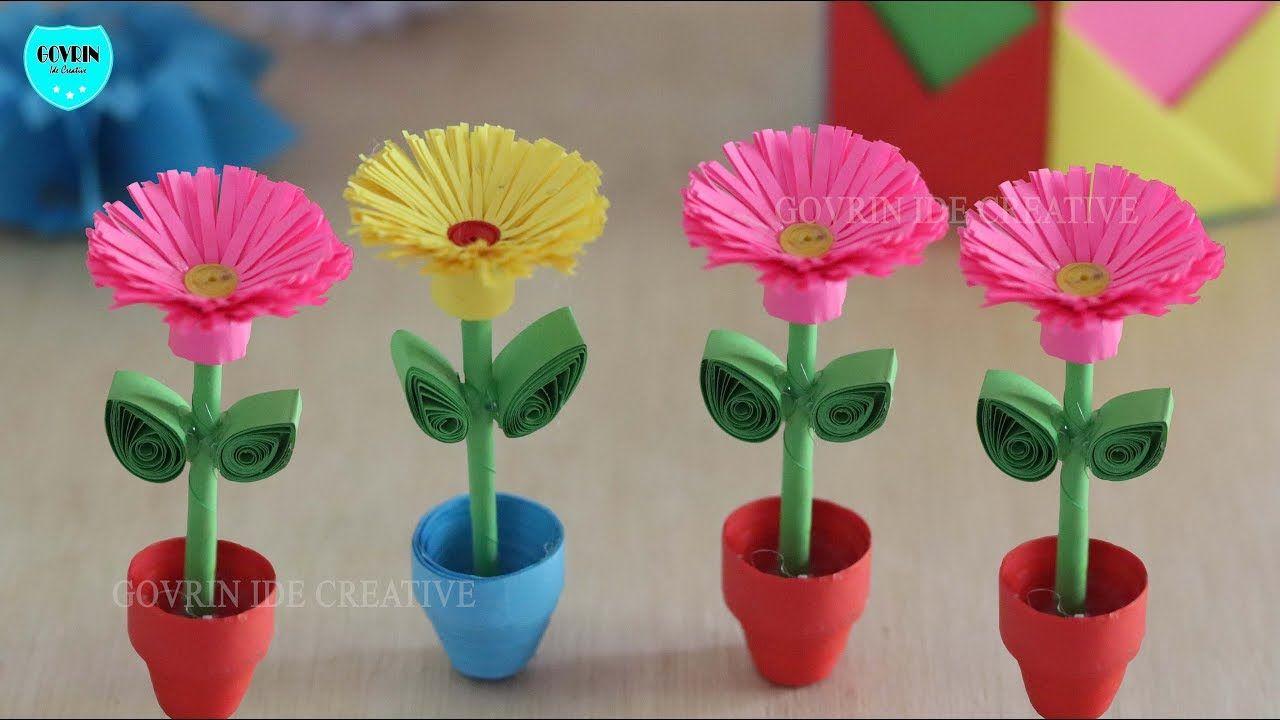Cara Membuat Miniatur Bunga Hias Dari Kertas Origami Ide Kreatif