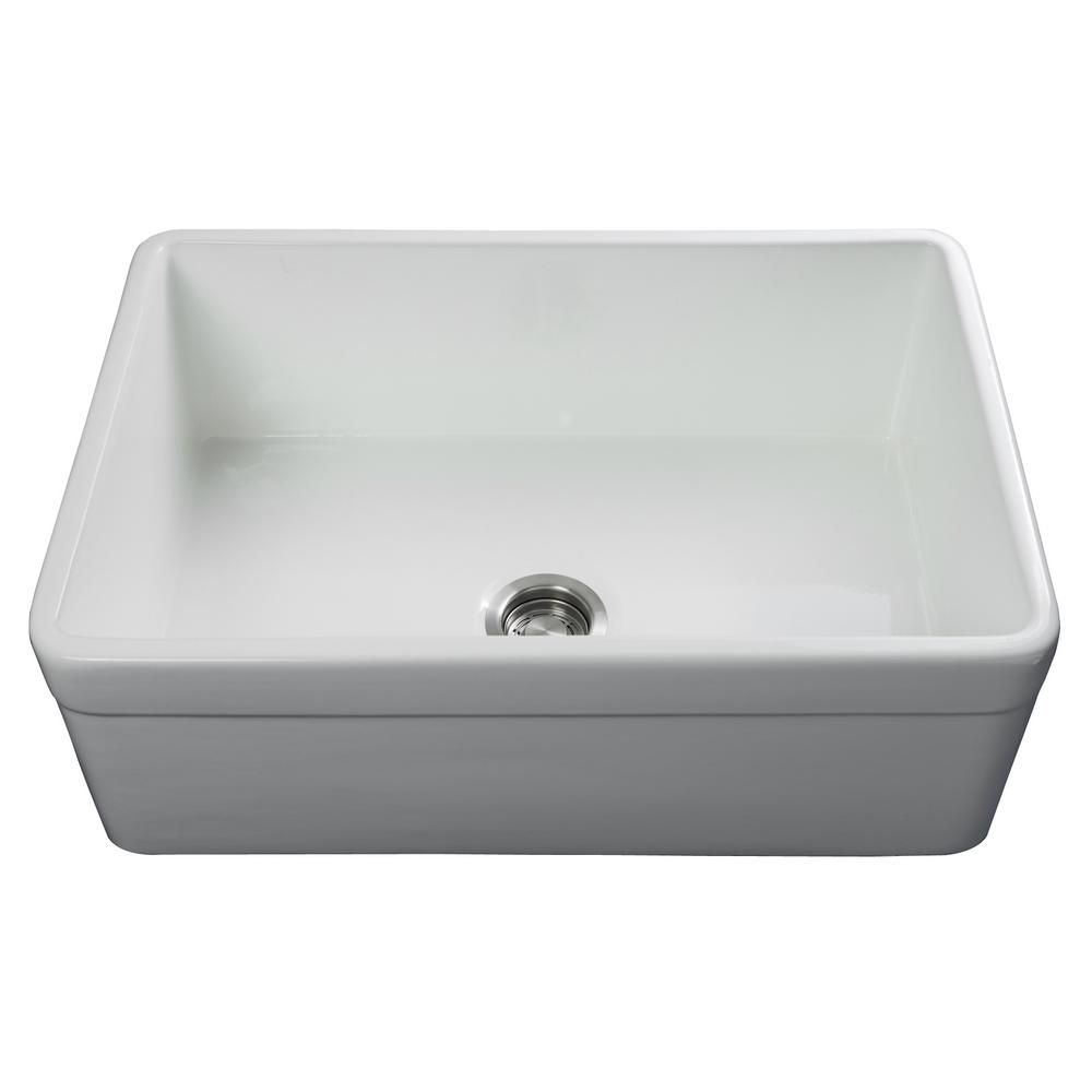 Fossil Blu Luxury 30 Inch Fireclay Modern Farmhouse Kitchen Sink In White Single Bowl With Belted Front Includes Drain In 2020 Modern Farmhouse Kitchens Farmhouse Sink Kitchen Sink