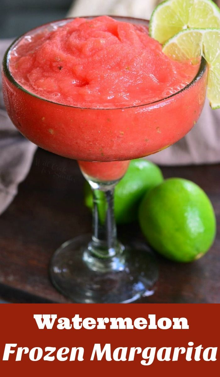 Watermelon Frozen Margaritas. These tasty Frozen Margaritas are simply made with ONLY 3 ingredients. Freeze watermelon ahead of time and enjoy in just a few minutes. #watermelon #frozen #blended #margaritas #lime #cocktail #drink #frozenmargaritarecipes