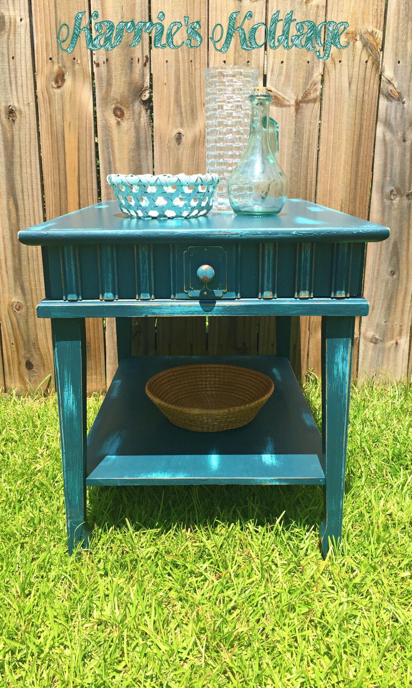 Rustic Midcentury Side Table Furniture Makeover. Console Table With  Distressed Blue Paint With Layered Paint