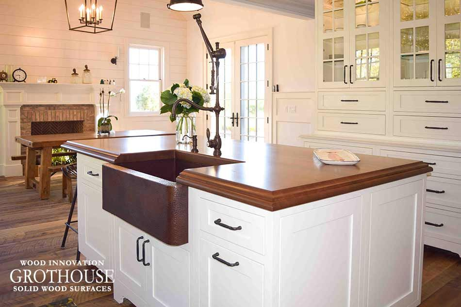 Custom Stained Cherry Wood Kitchen Island Top For A Farmhouse Style Kitchen In East Hampton Ne Kitchen Island Tops Wood Kitchen Island Wood Top Island Kitchen