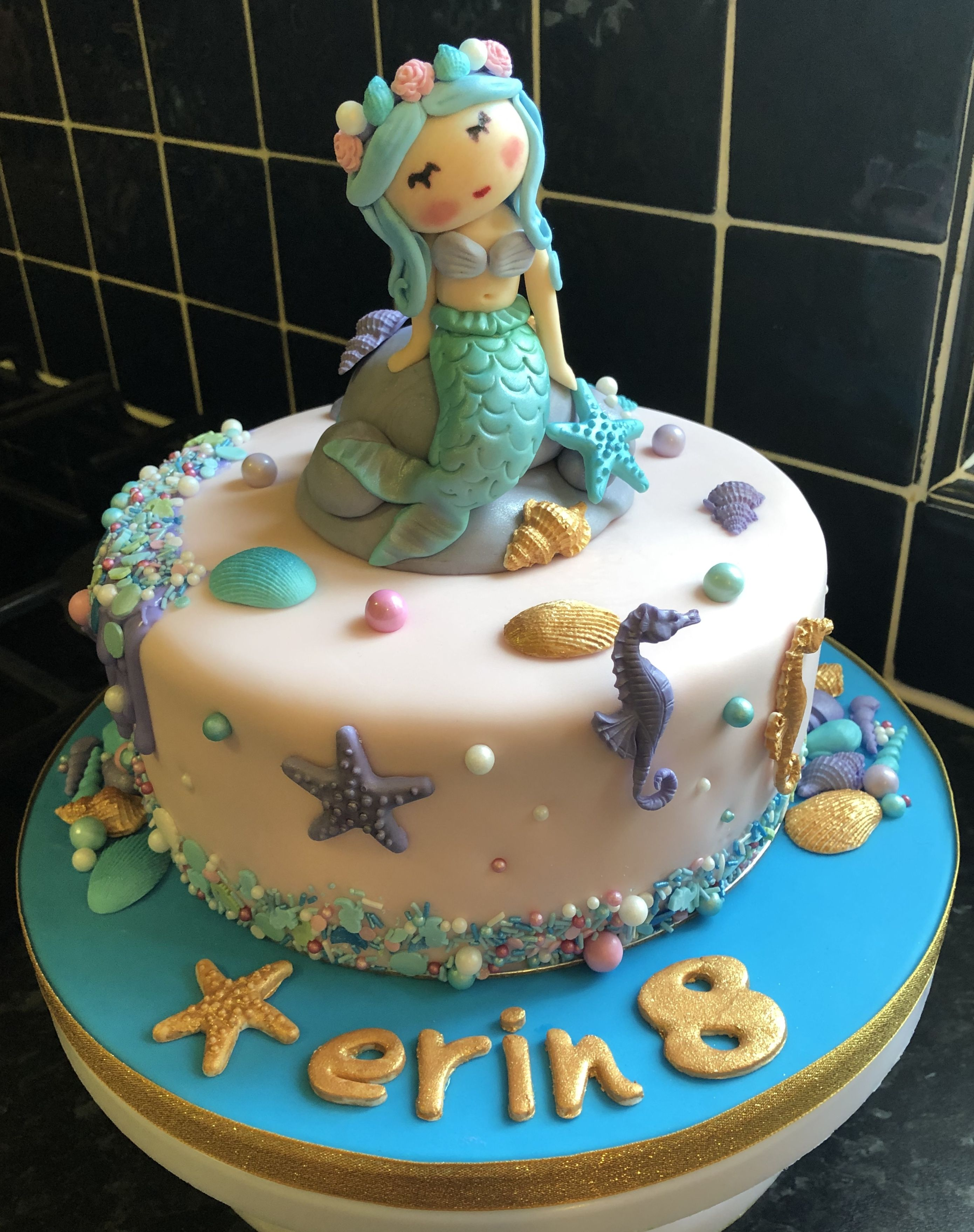 Mermaid birthday cake with images mermaid birthday
