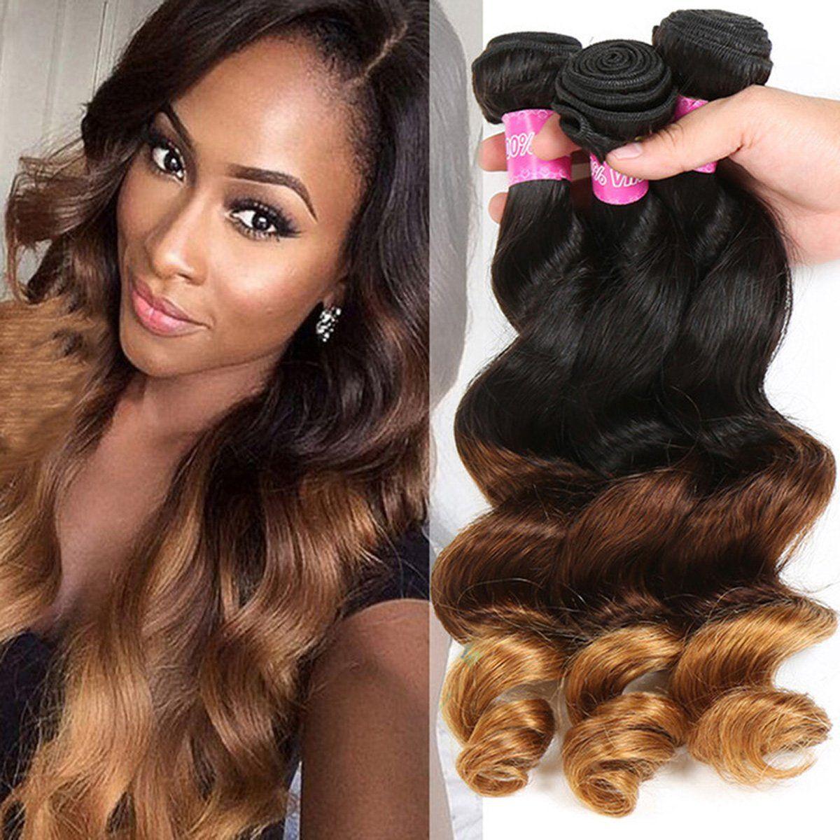 Virgin Brazilian Loose Wave Weave Real Human Hair Grade 7a Ombre