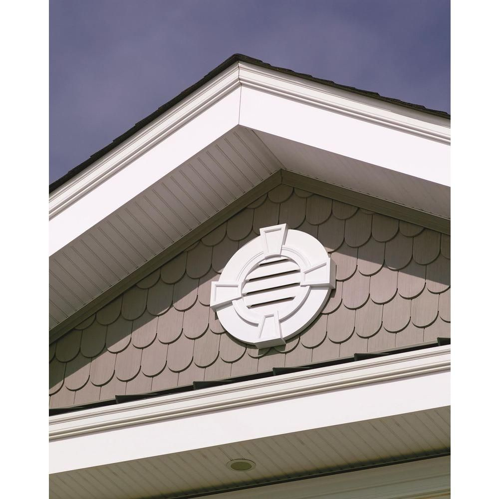 Fypon 24 In X 24 In X 2 1 8 In Polyurethane Functional Round Louver Gable Vent With Flat Trim And Keystones Frlv2 Gable Vents Exterior Trim Cottage Exterior