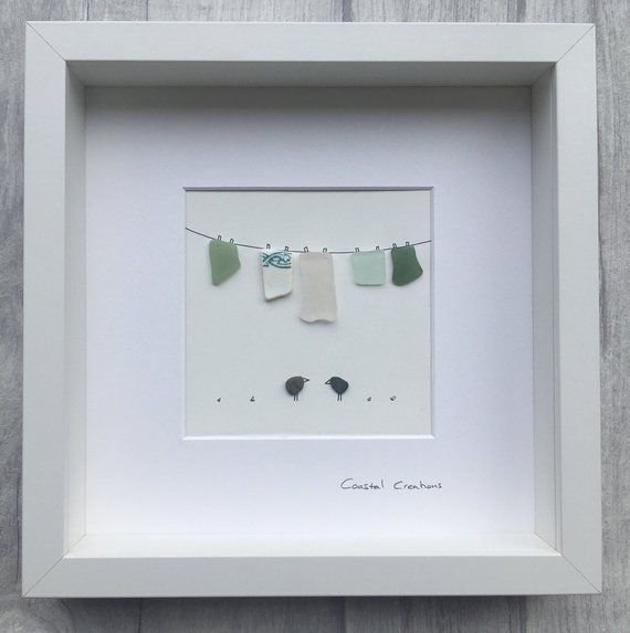 Handmade Cornish Sea Glass And Pebble Art Glass Frame Size 10x10 Inch Wall Hung Or Freestanding Shipping Uk Royal Mail Second Class Sea Glass Art Glass Art