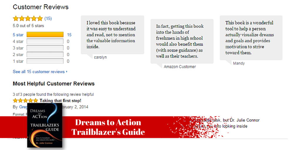 Get DREAMS TO ACTION TRAILBLAZER'S GUIDE and transform your resolutions into reality. Check out the awesome reviews on Amazon, http://www.amazon.com/Dreams-Action-Trailblazers-Guide-Connor/dp/0991487206